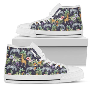 Tropical Zebra Giraffe Pattern Print Men's High Top Shoes GearFrost
