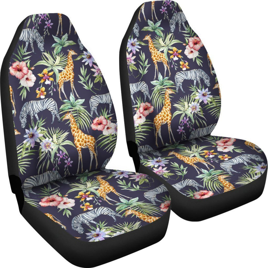 Tropical Zebra Giraffe Pattern Print Universal Fit Car Seat Covers GearFrost