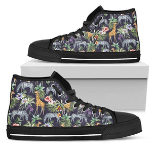 Tropical Zebra Giraffe Pattern Print Women's High Top Shoes GearFrost