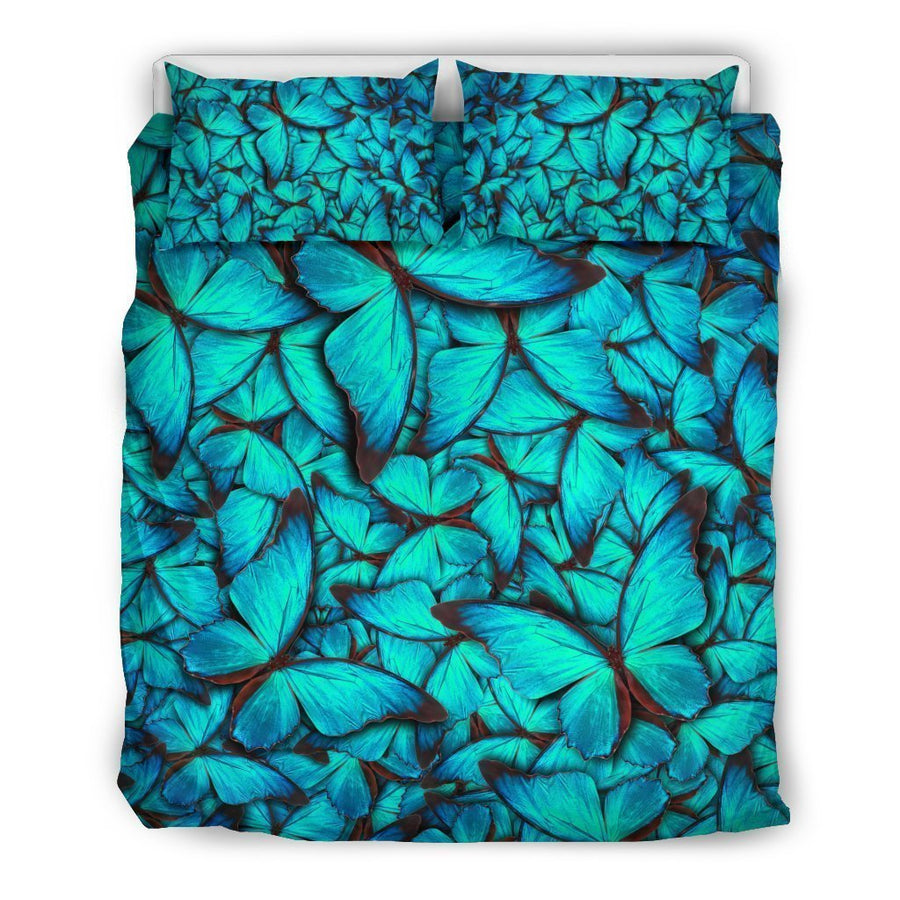 Turquoise Butterfly Pattern Print Duvet Cover Bedding Set GearFrost