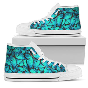 Turquoise Butterfly Pattern Print Men's High Top Shoes GearFrost