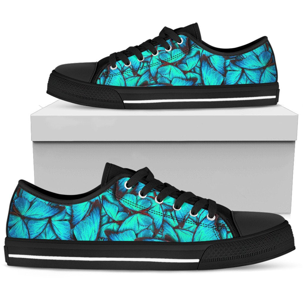 Turquoise Butterfly Pattern Print Men's Low Top Shoes GearFrost