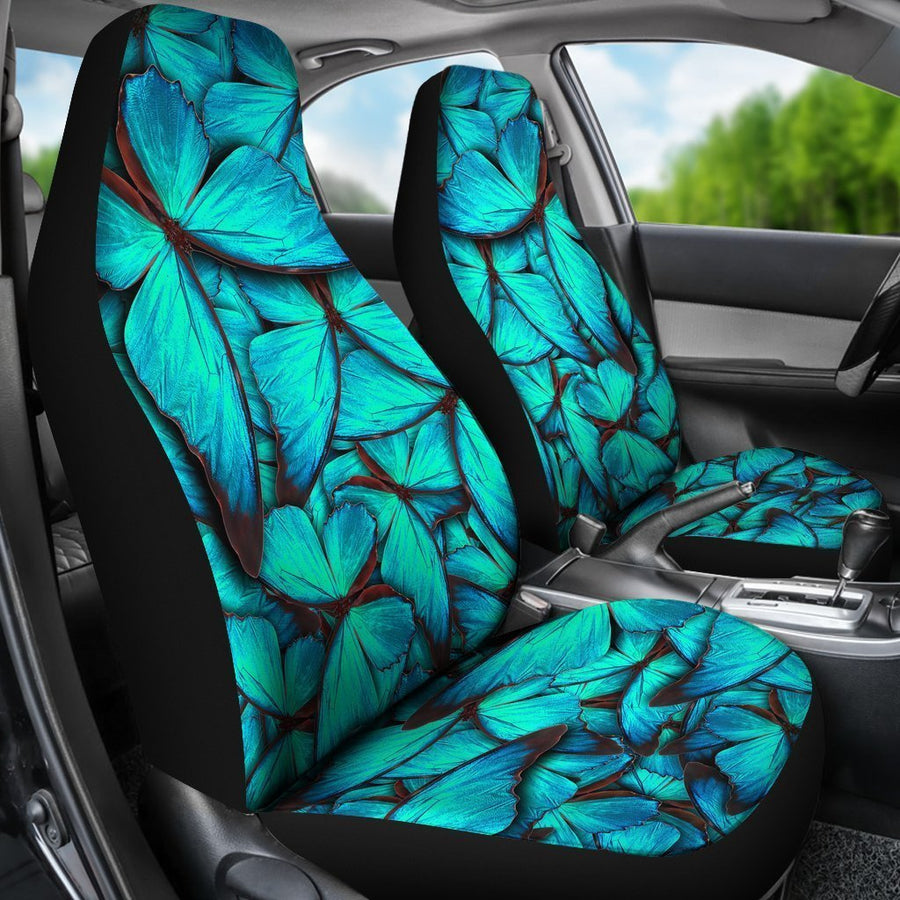 Turquoise Butterfly Pattern Print Universal Fit Car Seat Covers GearFrost
