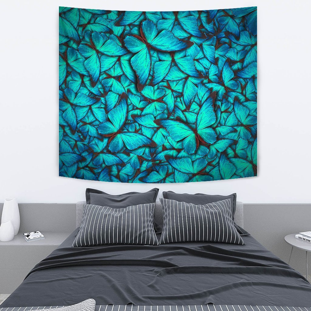 74db50e9b Turquoise Butterfly Pattern Print Wall Tapestry – GearFrost