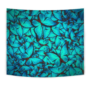 Turquoise Butterfly Pattern Print Wall Tapestry GearFrost