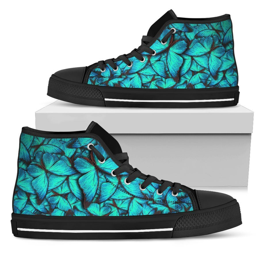 Turquoise Butterfly Pattern Print Women's High Top Shoes GearFrost