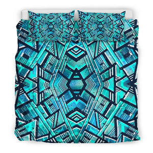 Turquoise Ethnic Aztec Trippy Print Duvet Cover Bedding Set GearFrost
