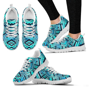 Turquoise Ethnic Aztec Trippy Print Women's Sneakers GearFrost
