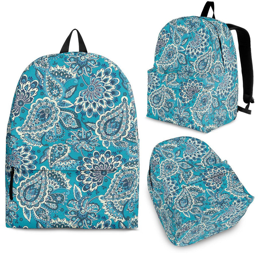 Turquoise Floral Bohemian Pattern Print Backpack GearFrost