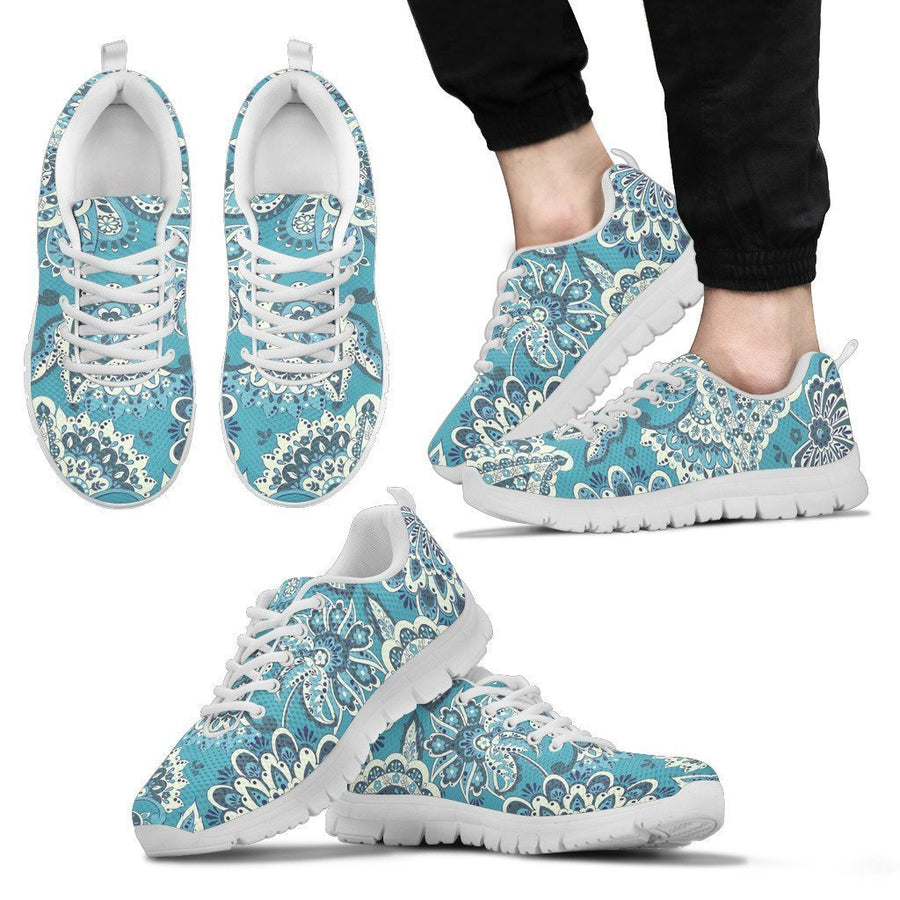 Turquoise Floral Bohemian Pattern Print Men's Sneakers GearFrost