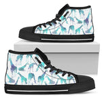 Turquoise Giraffe Pattern Print Men's High Top Shoes GearFrost