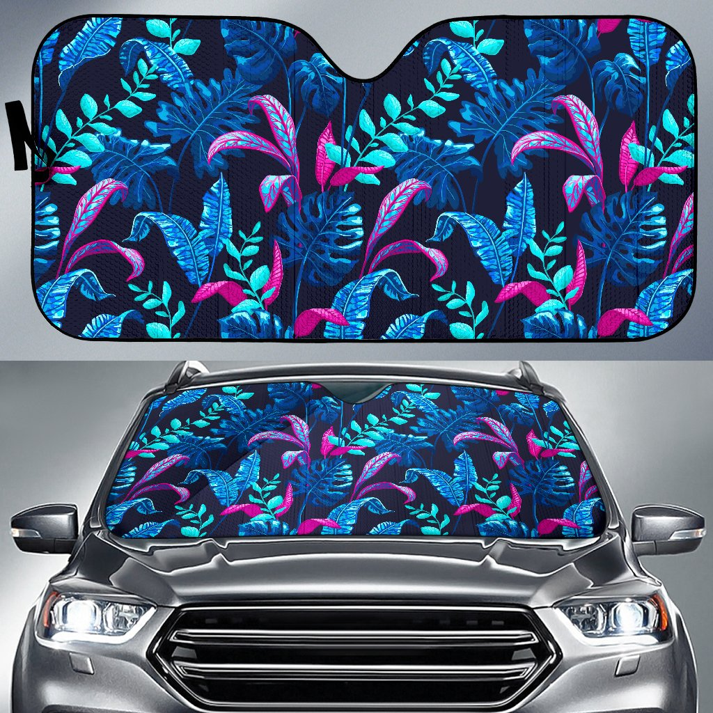 Turquoise Hawaii Tropical Pattern Print Car Sun Shade GearFrost