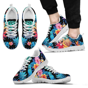 Turquoise Hawaiian Fruits Pattern Print Men's Sneakers GearFrost