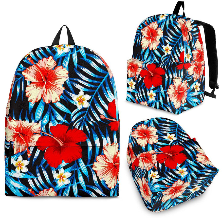 Turquoise Leaves Hibiscus Pattern Print Backpack GearFrost