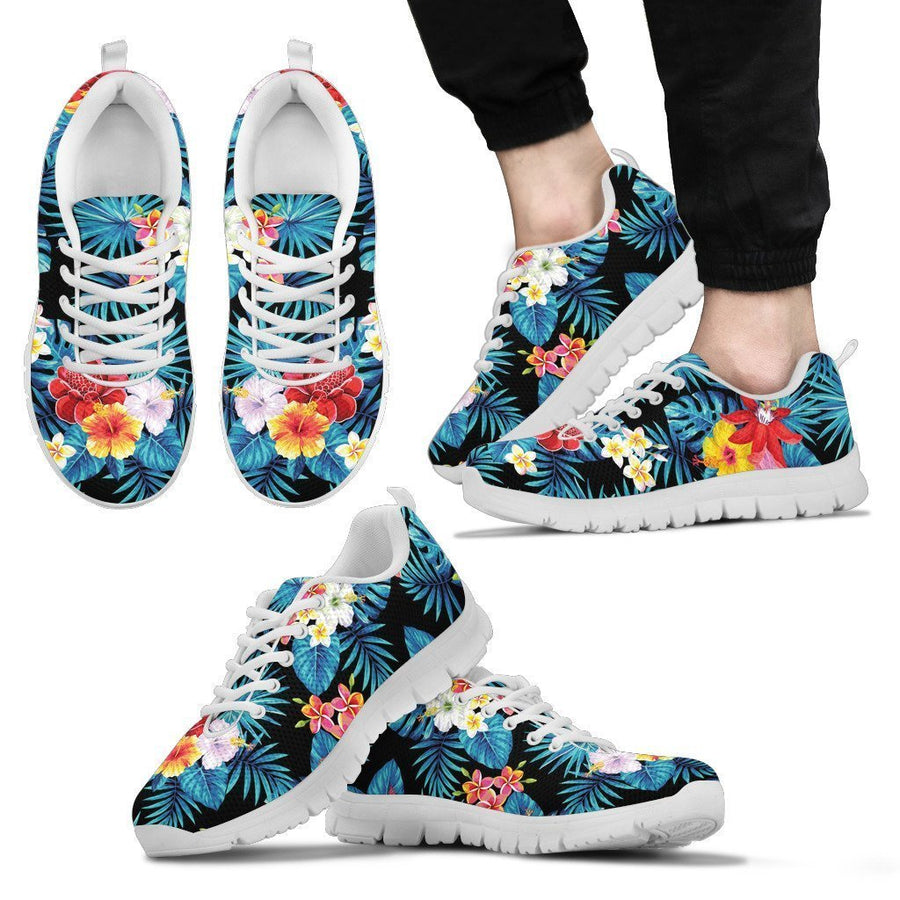 Turquoise Tropical Hawaii Pattern Print Men's Sneakers GearFrost