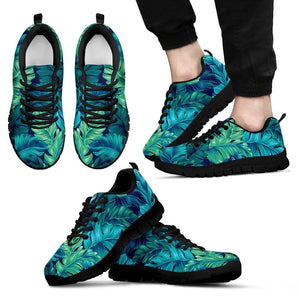 Turquoise Tropical Leaf Pattern Print Men's Sneakers GearFrost