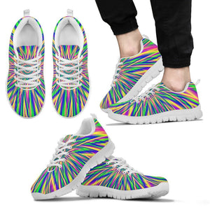 Vibrant Psychedelic Optical Illusion Men's Sneakers GearFrost