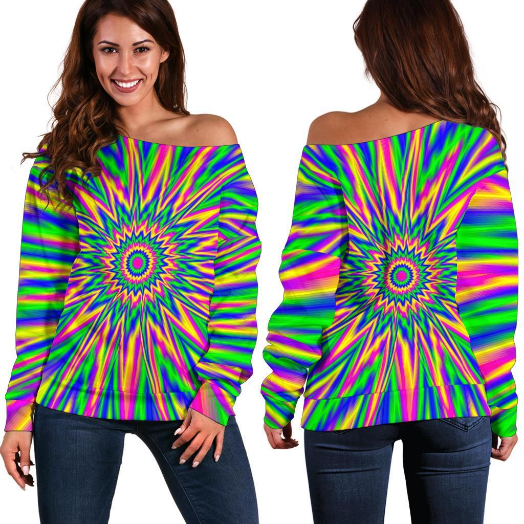 Vibrant Psychedelic Optical Illusion Off Shoulder Sweatshirt GearFrost