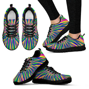Vibrant Psychedelic Optical Illusion Women's Sneakers GearFrost