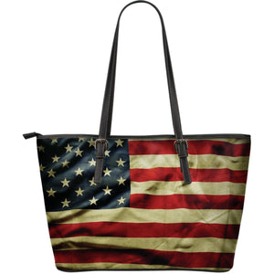 Vintage American Flag Patriotic Leather Tote Bag GearFrost