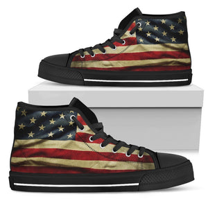 Vintage American Flag Patriotic Men's High Top Shoes GearFrost