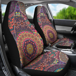 Vintage Bohemian Floral Mandala Print Universal Fit Car Seat Covers GearFrost