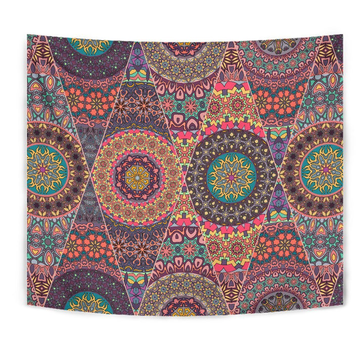Vintage Bohemian Floral Mandala Print Wall Tapestry GearFrost