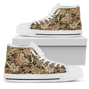 Vintage Brown Bohemian Floral Print Men's High Top Shoes GearFrost