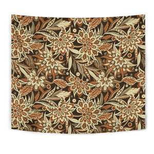 Vintage Brown Bohemian Floral Print Wall Tapestry GearFrost