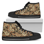 Vintage Brown Bohemian Floral Print Women's High Top Shoes GearFrost