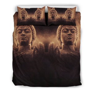 Vintage Buddha Statue Print Duvet Cover Bedding Set GearFrost