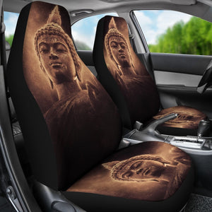 Vintage Buddha Statue Print Universal Fit Car Seat Covers GearFrost