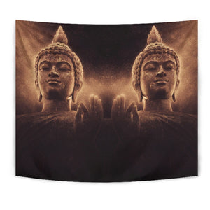 Vintage Buddha Statue Print Wall Tapestry GearFrost