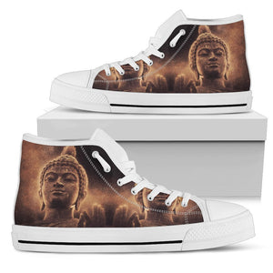 Vintage Buddha Statue Print Women's High Top Shoes GearFrost