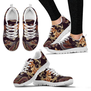 Vintage Dragon Flower Pattern Print Women's Sneakers GearFrost