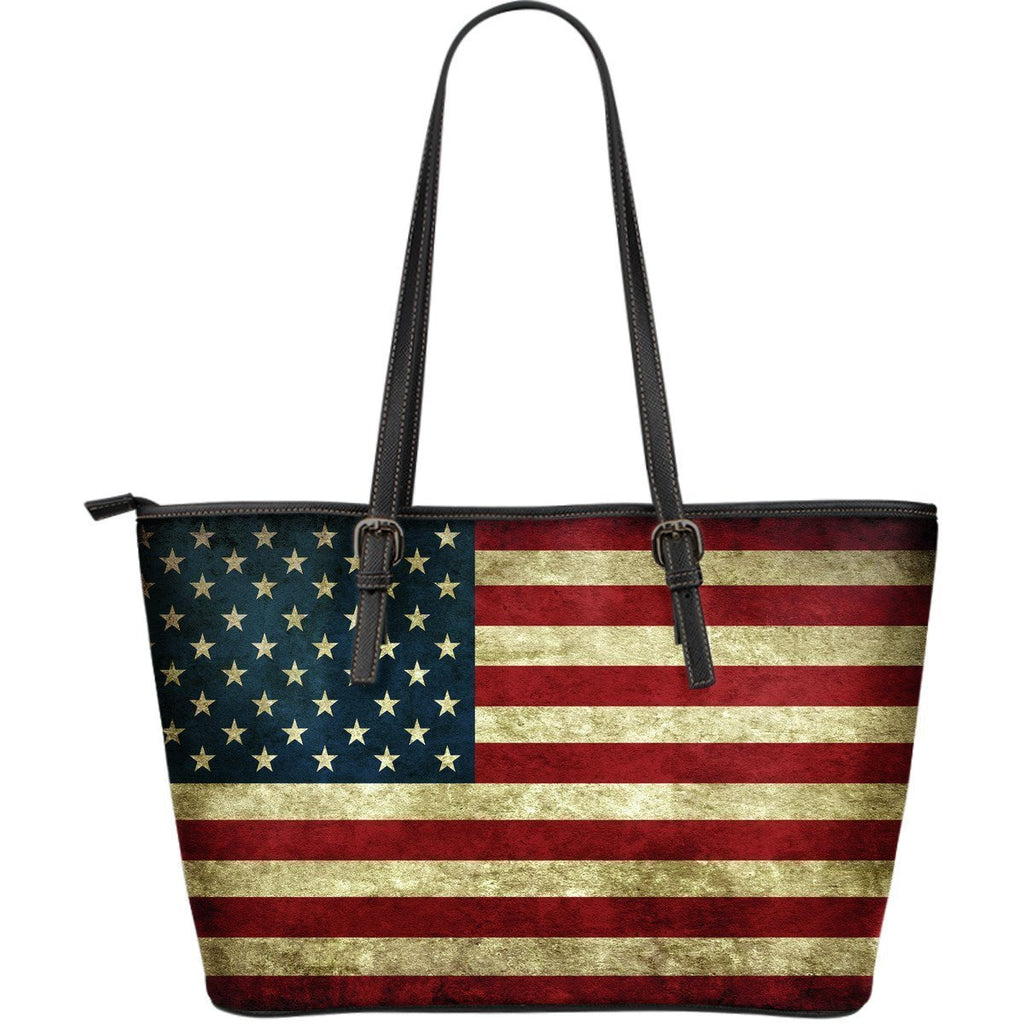 Vintage Grunge American Flag Patriotic Leather Tote Bag GearFrost