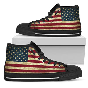 Vintage Grunge American Flag Patriotic Men's High Top Shoes GearFrost