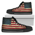 Vintage Grunge American Flag Patriotic Women's High Top Shoes GearFrost