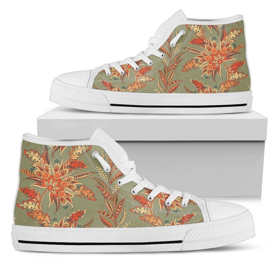 Vintage Orange Bohemian Floral Print Men's High Top Shoes GearFrost