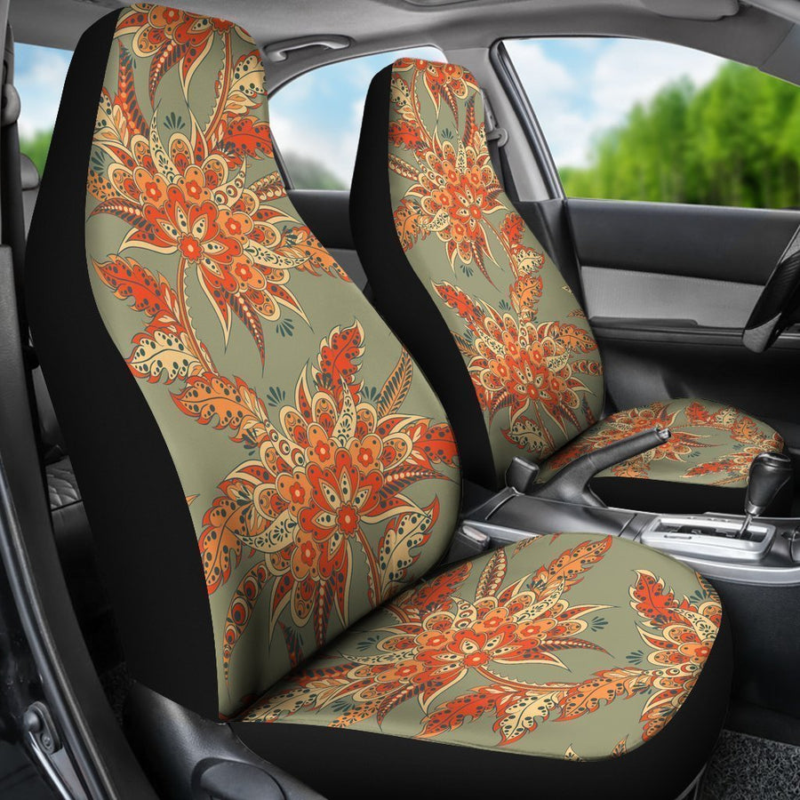 Vintage Orange Bohemian Floral Print Universal Fit Car Seat Covers GearFrost