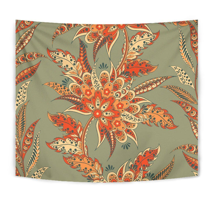 Vintage Orange Bohemian Floral Print Wall Tapestry GearFrost