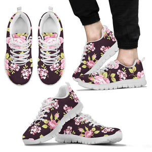 Vintage Pink Rose Floral Pattern Print Men's Sneakers GearFrost