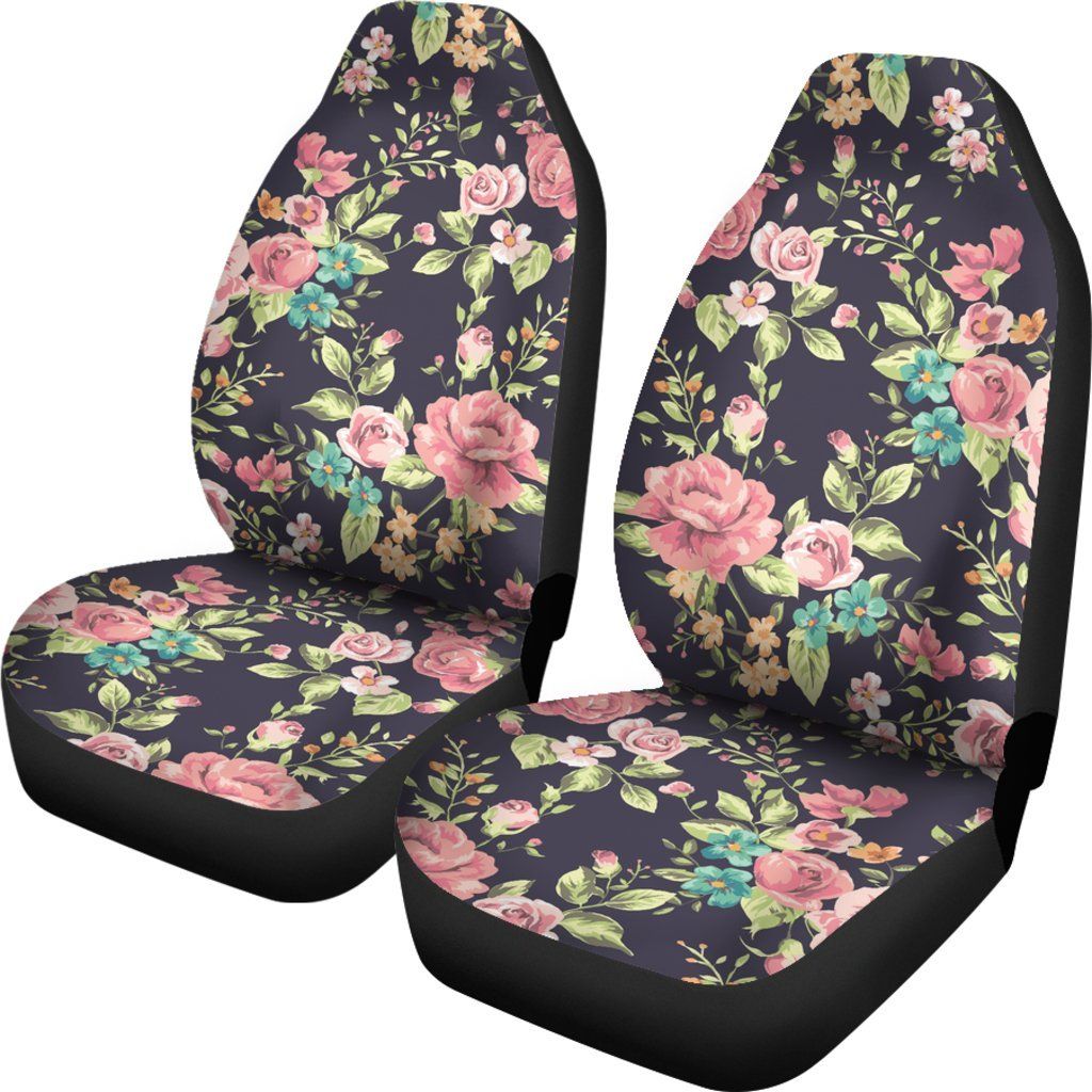 Vintage Rose Floral Flower Pattern Print Universal Fit Car Seat Covers GearFrost