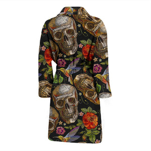 Vintage Skull Pattern Print Men's Bathrobe GearFrost