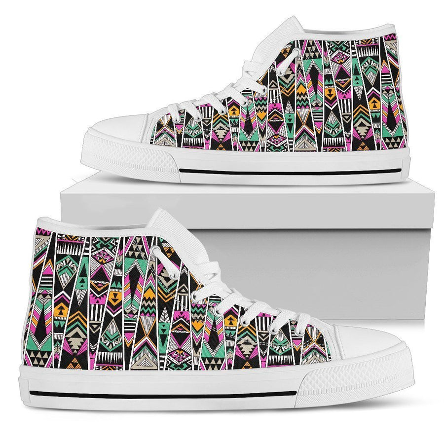 Vintage Tribal Aztec Pattern Print Men's High Top Shoes GearFrost