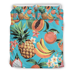 Vintage Tropical Fruits Pattern Print Duvet Cover Bedding Set GearFrost