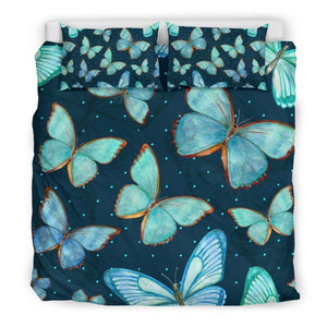 Watercolor Blue Butterfly Pattern Print Duvet Cover Bedding Set GearFrost