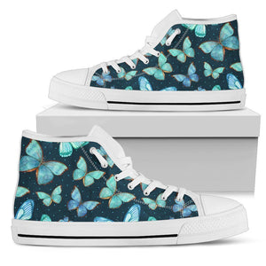 Watercolor Blue Butterfly Pattern Print Men's High Top Shoes GearFrost