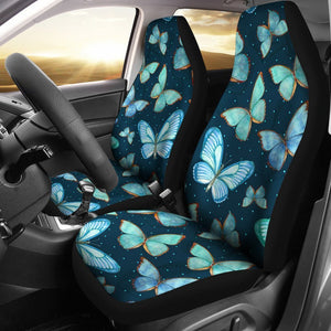 Watercolor Blue Butterfly Pattern Print Universal Fit Car Seat Covers GearFrost