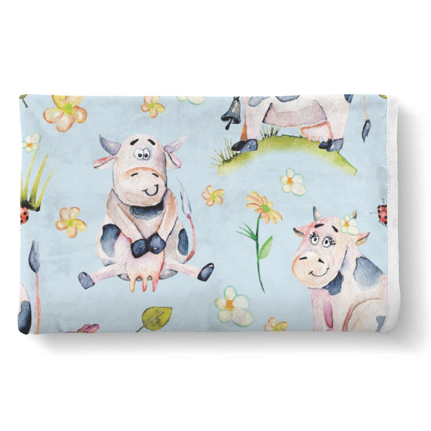 Watercolor Cartoon Cow Pattern Print Sherpa Blanket GearFrost